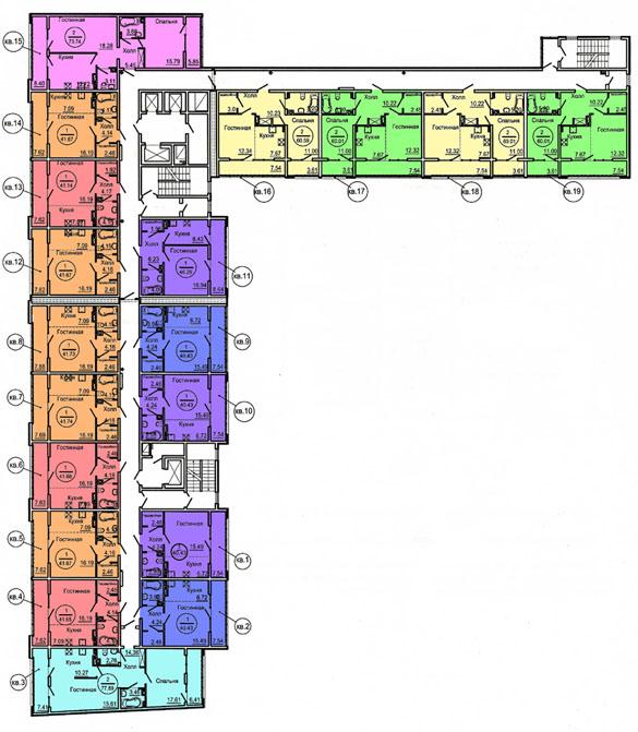 Общие габариты здания 61,35 м