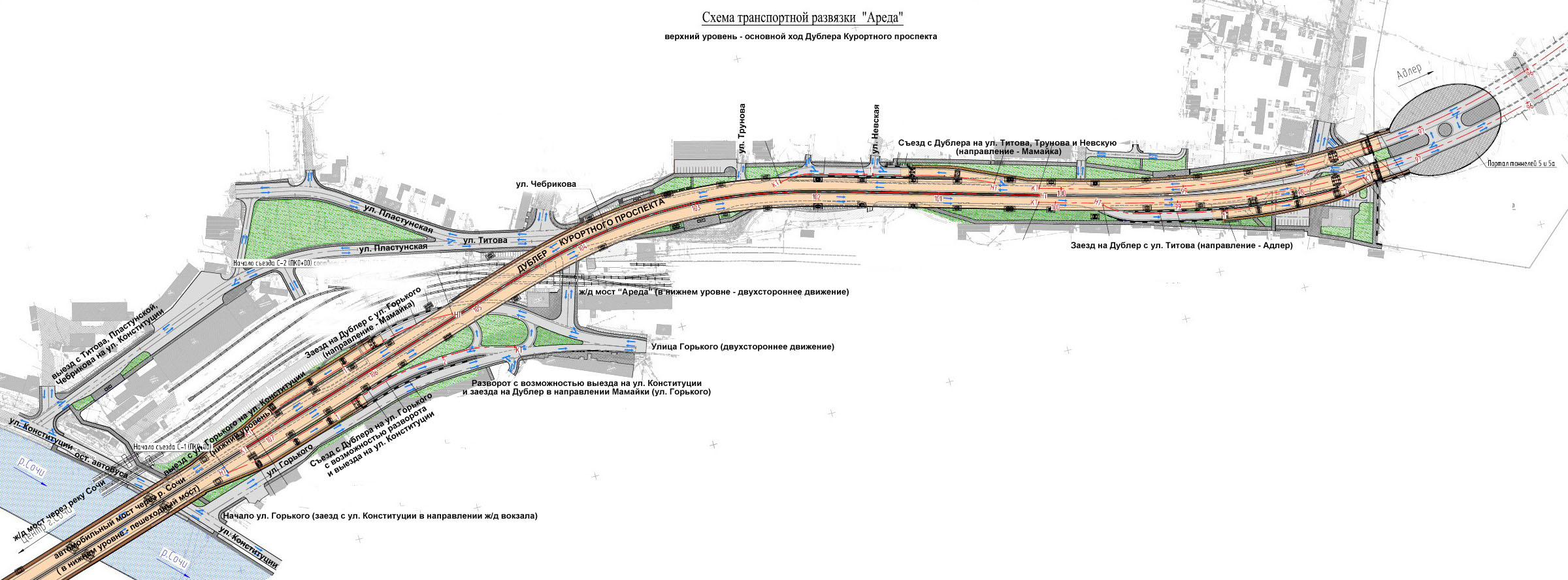 Проект дублёра курортного проспекта обратная сторона сочи.