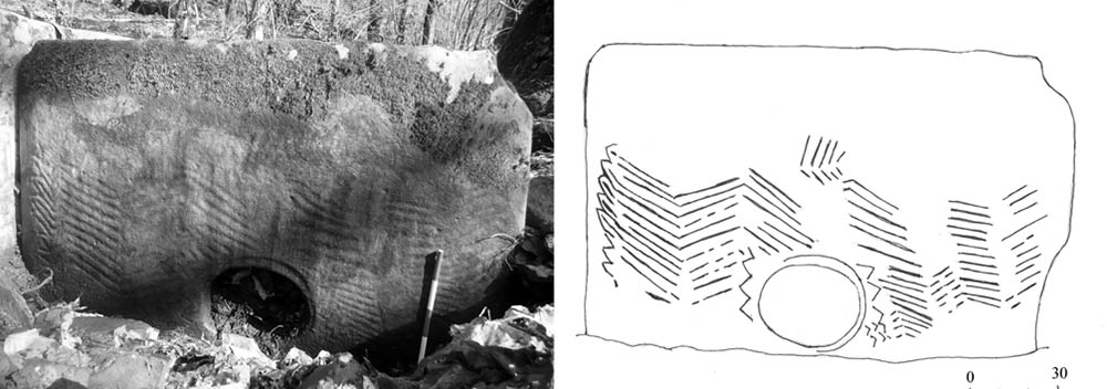 Орнамент на дольмене в верховьях реки Нихетка