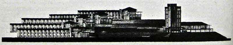 Фасад группы павильонов.