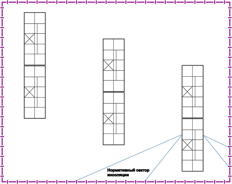 Примерная схема размещения многоквартирных жилых дом, состоящих из однокомнатных квартир.