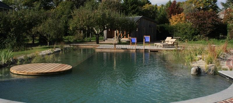 Этот подобный пруду натуральный плавательный бассейн запроектирован Woodhouse Natural Pools