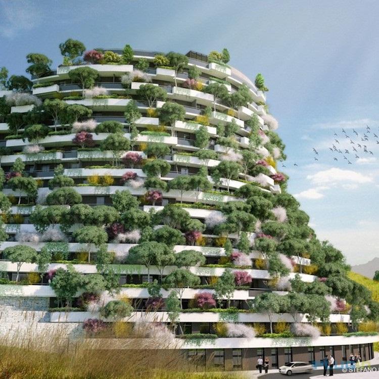 "The Mountain Forest Hotel, расположенный в Guizhou, China, он настолько ""зелёный"", что улучшит воздух вокруг него © Stefano Boeri Architetti China"