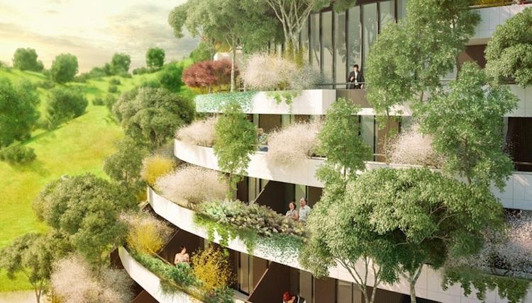 С растениями и деревьями на каждом этаже, отель похож на возрождённый бывший холм на месте, где он был срыт несколько лет назад©Stefano Boeri Architetti China