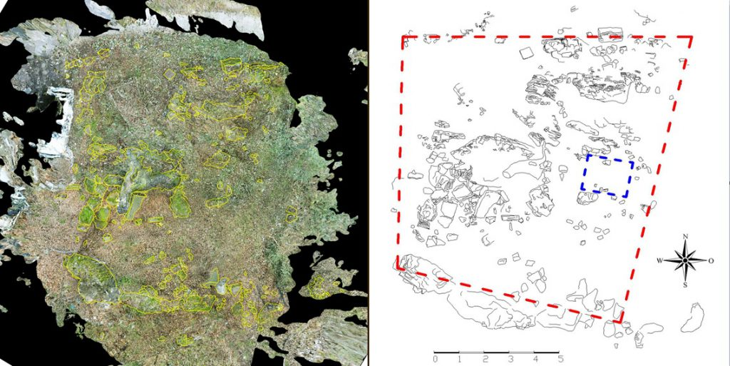 Рис. 5. Проекция территории с расположенными на ней фрагментами стен и план объекта