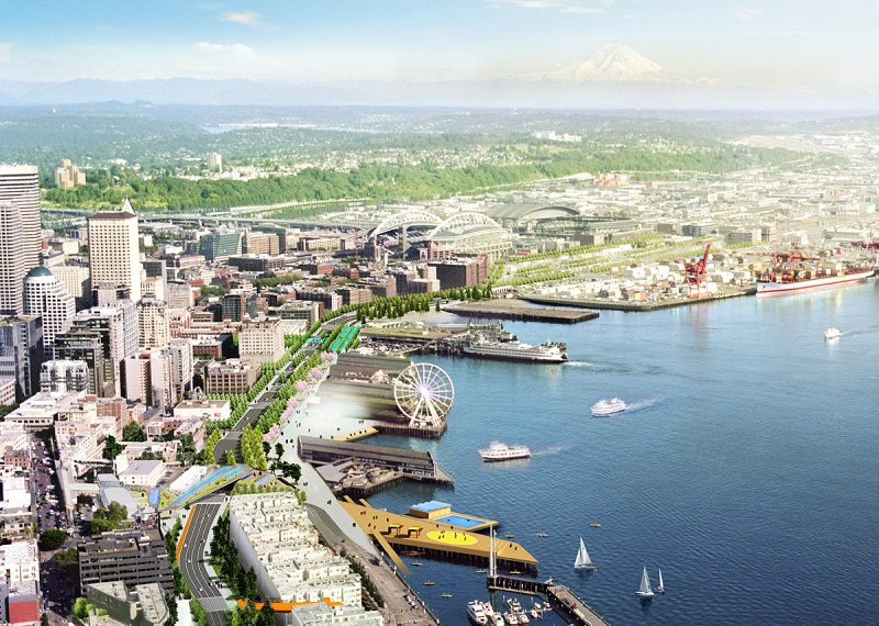 Seattle Waterfront; Alaskan Way Viaduct; SR 99; Downtown Seattle